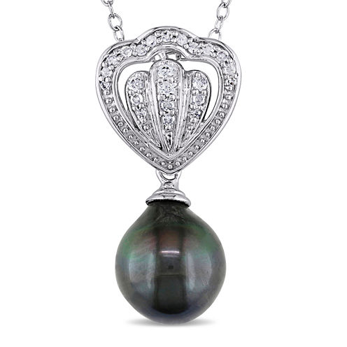1/8 CT. T.W. Diamond & Genuine Black Tahitian Pearl Sterling Silver Pendant