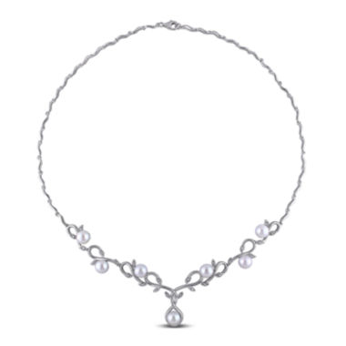 jcpenney.com | 1/10 CT. T.W. Diamond and Cultured Freshwater Pearl Sterling Silver Necklace