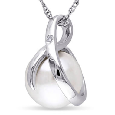 jcpenney.com | Cultured Freshwater Pearl & Diamond Accent 10K White Gold Pendant