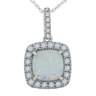 jcpenney.com | Lab-Created Opal & White Sapphire Sterling Silver Pendant Necklace