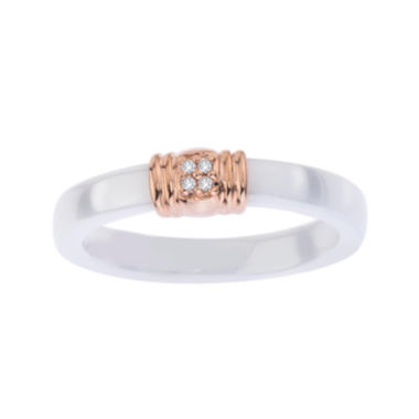 jcpenney.com | Diamond Accent White Ceramic and Sterling Silver Wedding Band
