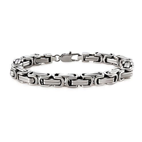 Mens Stainless Steel Byzantine Bracelet