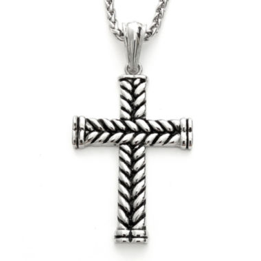 jcpenney.com | Mens Braided Stainless Steel Cross Pendant Necklace