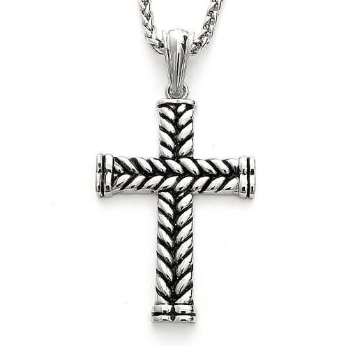Mens Braided Stainless Steel Cross Pendant Necklace