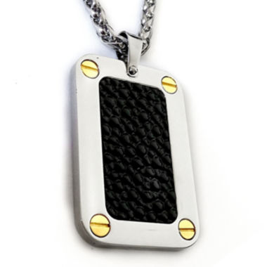 jcpenney.com | Mens Black Stingray Leather Two-Tone Stainless Steel Dog Tag Pendant Necklace