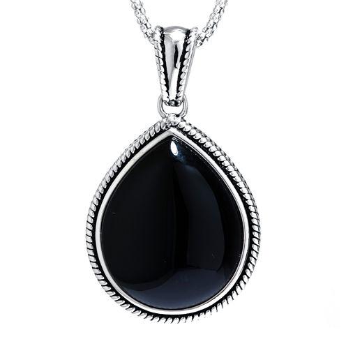 Genuine Black Onyx Sterling Silver Teardrop Pendant Necklace