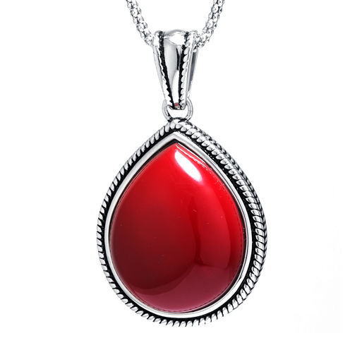 Simulated Red Jasper Sterling Silver Teardrop Pendant Necklace