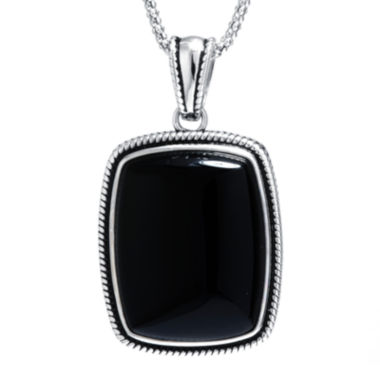 jcpenney.com | Genuine Black Onyx Sterling Silver Rectangular Pendant Necklace
