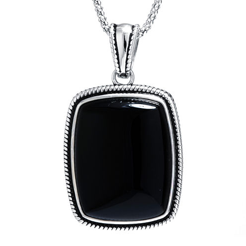Genuine Black Onyx Sterling Silver Rectangular Pendant Necklace