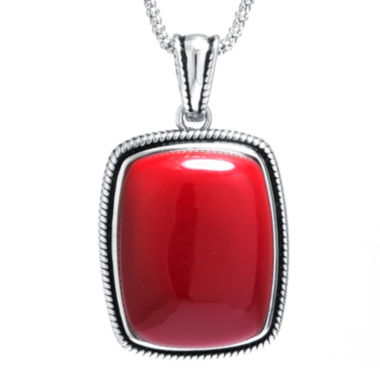 jcpenney.com | Simulated Red Jasper Sterling Silver Rectangular Pendant Necklace