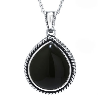 Genuine black onyx sterling silver teardrop pendant necklace genuine black onyx sterling silver teardrop pendant necklace mozeypictures Gallery