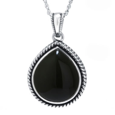 jcpenney.com | Genuine Black Onyx Sterling Silver Teardrop Pendant Necklace