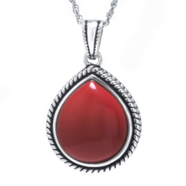 jcpenney.com | Simulated Red Jasper Sterling Silver Teardrop Pendant Necklace