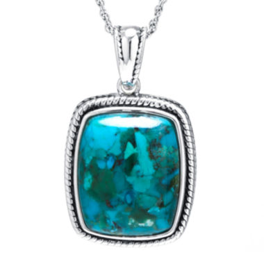 jcpenney.com | Enhanced Turquoise Sterling Silver Rectangular Pendant Necklace