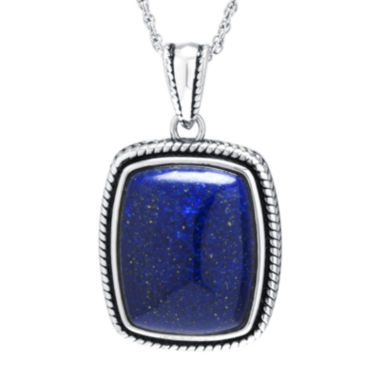 jcpenney.com | Dyed Blue Lapis Sterling Silver Rectangular Pendant Necklace