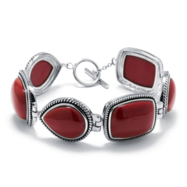 jcpenney.com | Simulated Red Jasper Sterling Silver Link Bracelet