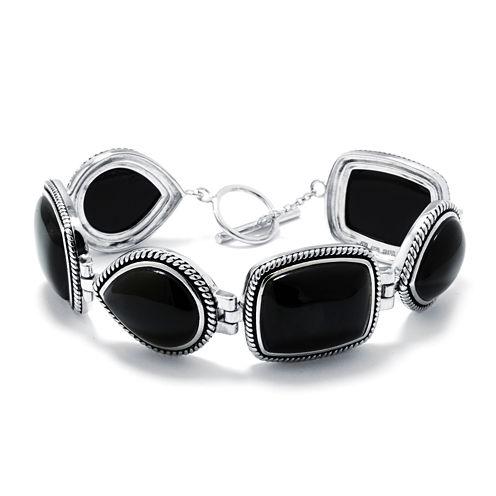 Genuine Black Onyx Sterling Silver Link Bracelet