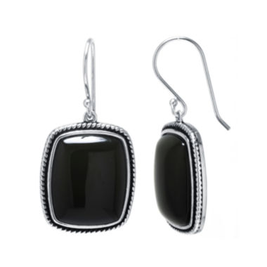 jcpenney.com | Genuine Black Onyx Sterling Silver Rectangular Drop Earrings