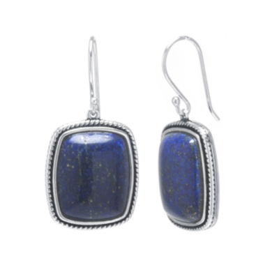 jcpenney.com | Dyed Blue Lapis Sterling Silver Rectangular Drop Earrings