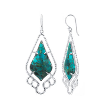 jcpenney.com | Enhanced Turquoise Sterling Silver Estate Drop Earrings