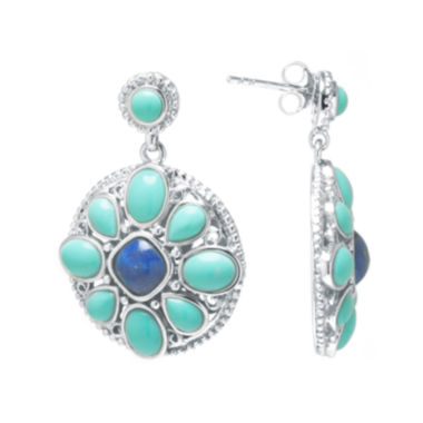 jcpenney.com | Enhanced Turquoise and Dyed Blue Lapis Sterling Silver Medallion Drop Earrings