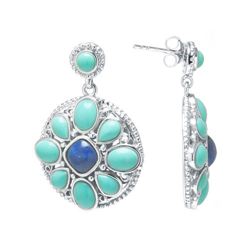 Enhanced Turquoise and Dyed Blue Lapis Sterling Silver Medallion Drop Earrings