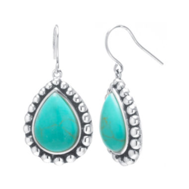 jcpenney.com | Simulated Turquoise Sterling Silver Pear Drop Earrings