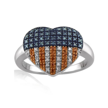 jcpenney.com | 1/4 CT. T.W. White and Color-Enhanced Blue and Red Diamond Sterling Silver Flag Heart Ring