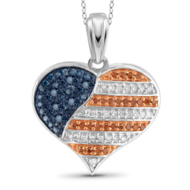 jcpenney.com | 1/4 CT. T.W. White and Color-Enhanced Blue and Red Diamond Flag Heart Pendant Necklace