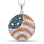 1/4 CT. T.W White and Color-Enhanced Blue and Red Diamond Sterling Silver Flag Pendant