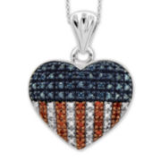 1/4 CT. T.W. White and Color-Enhanced Blue and Red Diamond Sterling Silver Flag Heart Pendant