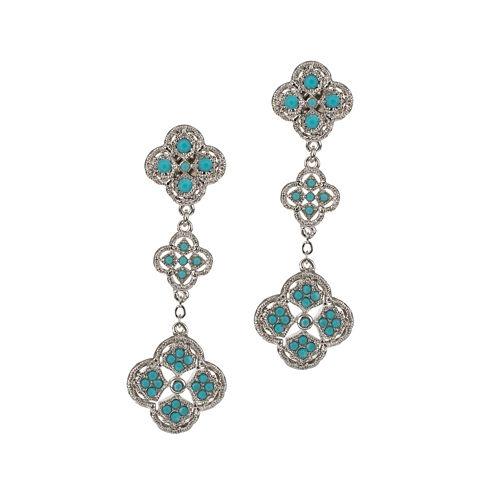 Jardin Silver-Tone Filigree Trefoil Dangle Earrings