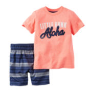 Carter's® 2-pc. Orange Hunk Tee and Shorts Set - Baby Boys newborn-24m