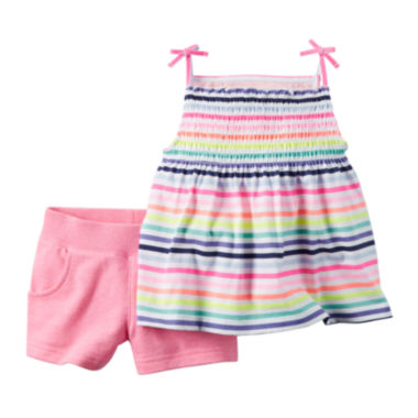 jcpenney.com | Carter's® 2-pc. Short-Sleeve Striped Tee and Shorts Set - Baby Girls newborn-24m
