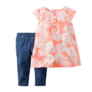 Carter's® 2-pc. Peach Palm Tank Top and Jeggings Set - Toddler Girls 2t-5t