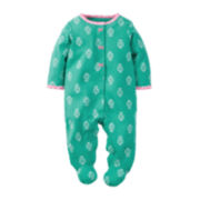 Carter's® Turquoise Geo-Print Footed Pajamas - Baby Girls newborn-24m