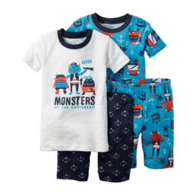 jcpenney.com | Carter's® 4-pc. Ivory Monster Pajama Set - Baby Boys newborn-24m