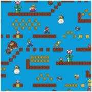 Nintendo Super Mario Game Scenes Cotton Fabric - 15 Yards