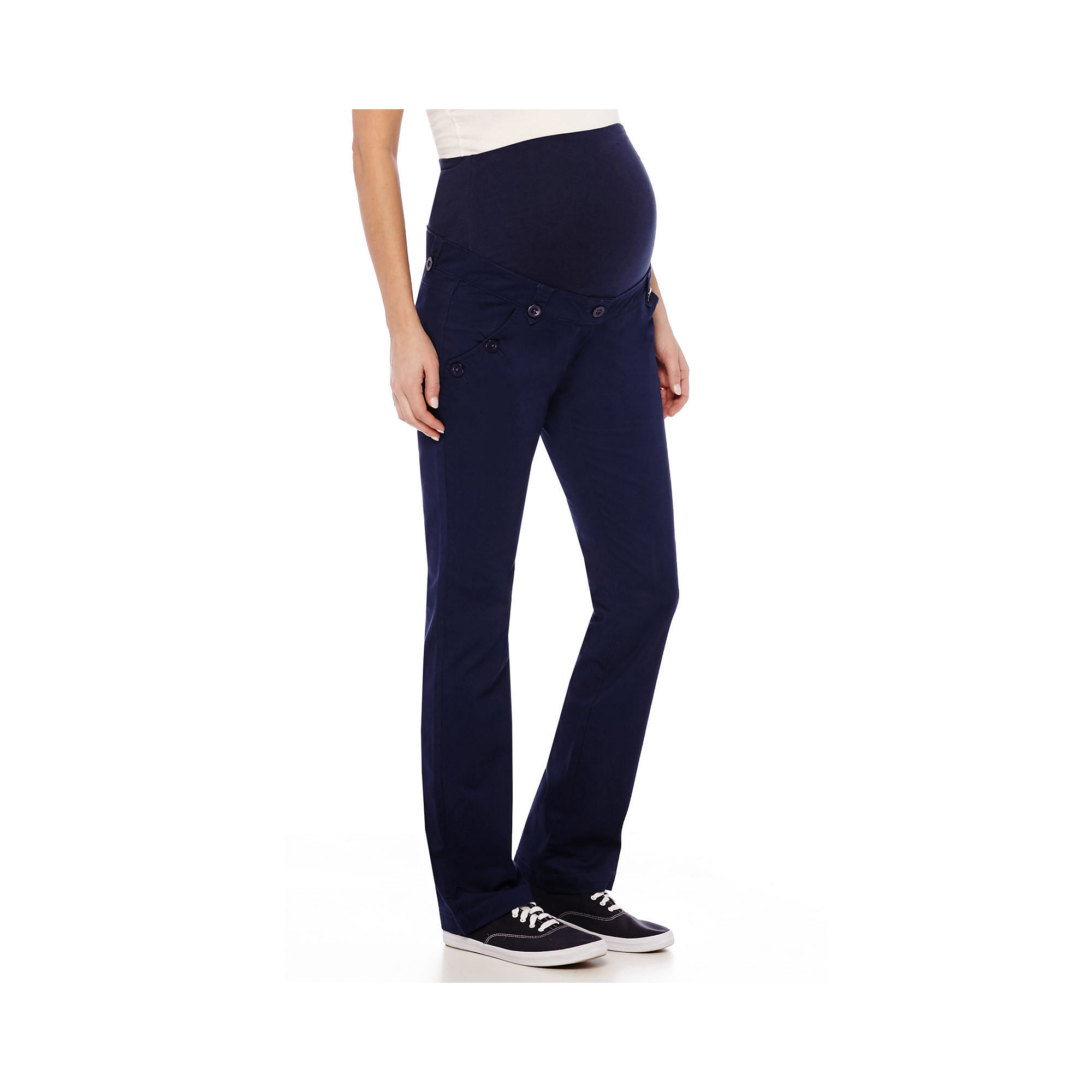 Maternity Twill Bootcut Pants - Plus plus size,  plus size fashion plus size appare