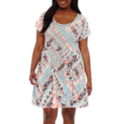 Decree® Cross Back Skater Dress - Juniors Plus