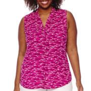Worthington® Sleeveless Button-Front Blouse - Plus