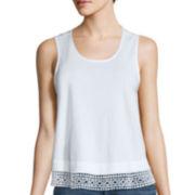 a.n.a® Crochet Lace-Hem Tank Top