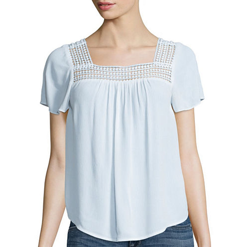 a.n.a® Short-Sleeve Lace-Trim Top