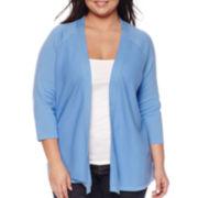 St. John's Bay® 3/4-Sleeve Flyaway Cardigan Sweater - Plus