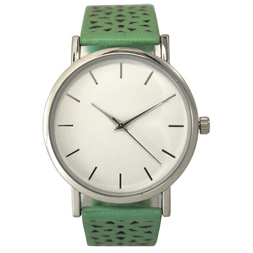 Olivia Pratt Laser Cut Womens Green Strap Watch-16258