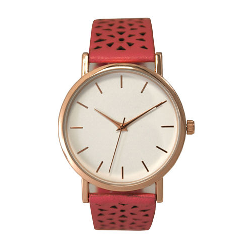 Olivia Pratt Laser Cut Womens Pink Strap Watch-16258
