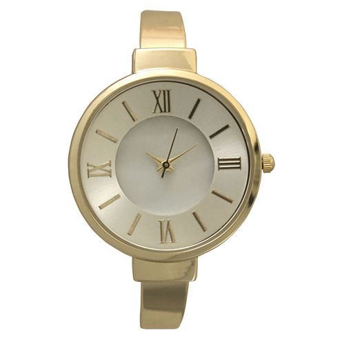 Olivia Pratt Womens Gold Tone Bangle Watch-10029