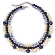 Aris by Treska 3-Row Blue Beaded Necklace