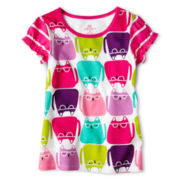 Okie Dokie® Short Sleeve Mixed Print Tee - Girls 12-24m