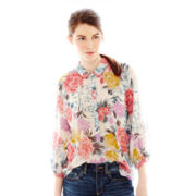 Joe Fresh™ 3/4-Sleeve Print Peasant Top